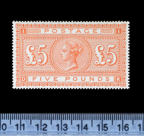 1882-83 wmk. Anchor on white paper: £5 orange DK (S.G.137), example from the right of the sheet showing marked frame breaks below 'O' and 'N' of 'POUNDS', light marginal gum bend, brilliantly fresh unmounted o.g. An exceptional stamp. B.P.A. Certificate (1992)