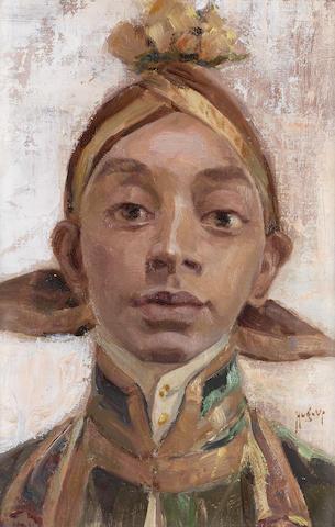 Hugo Vilfred Pedersen (Danish, 1870-1959) Java Prince 27 x 40 cm. (10½ x 15¾ in.)
