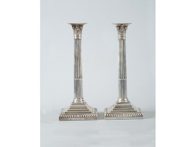 A pair of George III candlesticks John Cafe, 1770,  (2)
