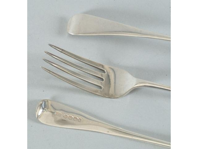 A matched table service of old English flatware Varius maker and dates, all antique and predominantly Exeter,  (43)