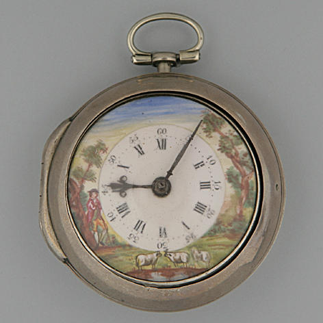 Thomas Richards, London.   A silver pair-cased verge pocket watch Hallmarked 1782