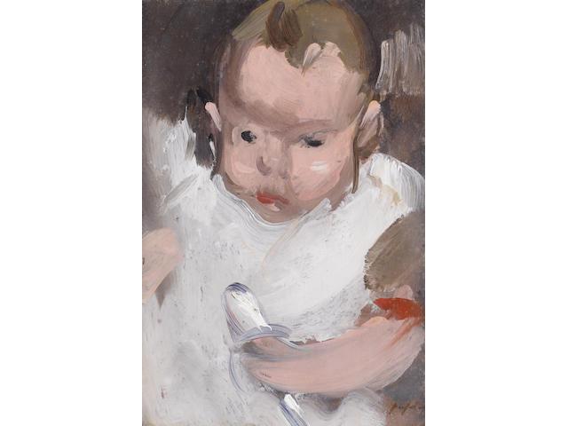 Samuel John Peploe RSA (1871-1935) Portrait of a baby, Willy Peploe
