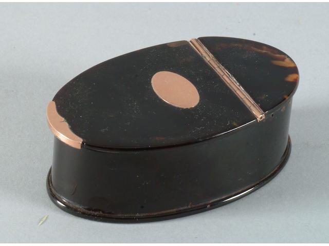 A Georgian tortoiseshell snuff box unmarked,