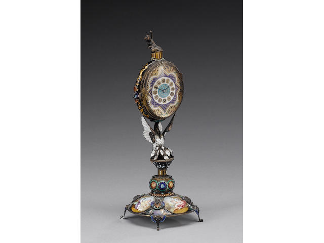A late 19th century Austrian silver-gilt and enamelled figural timepiece, by Herman Boehm, Vienna, circa 1880,