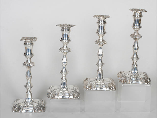 A set of four late 18th century style candlesticks By Henry Wilkinson and Co, 1891-2,  (4)