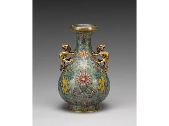 A cloisonné enamel vase with Kylin handles,