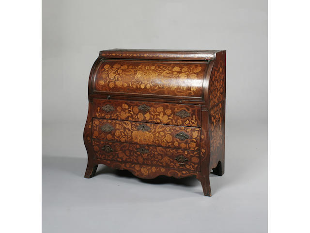An early 19th century Dutch floral marquetry cylinder bureau