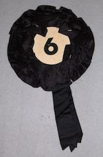 An original 'No. 6' rosette from the cult TV series 'The Prisoner', starring Patrick McGoohan, 1960s,