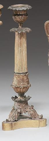 A pair of 19th century gilt bronze candlesticks