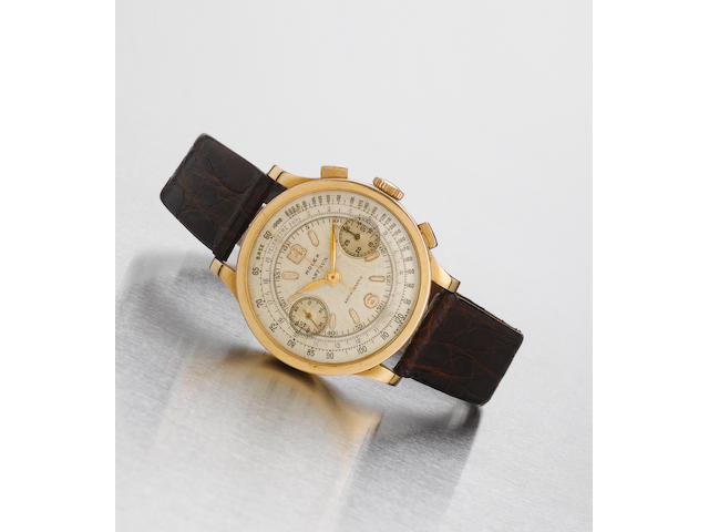 Rolex. A fine and rare 18ct pink gold chronograph wristwatchRef:2508, 'Antimagnetic' Case No.49412, circa 1939