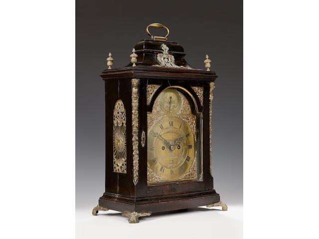 A George III ebonised and gilt brass mounted bracket clock