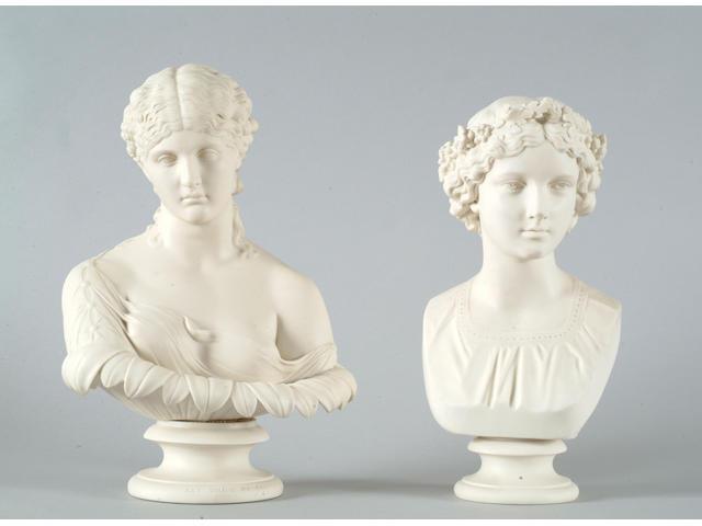 A Copeland parian portrait bust of Clytie