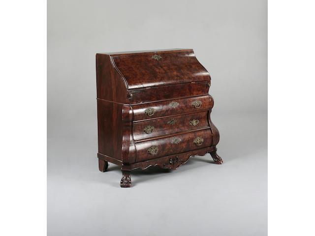 A 18th century style burr elm bombé bureau