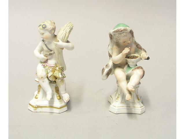 A pair of Meissen allegorical figures 'Winter' and 'Autumn'