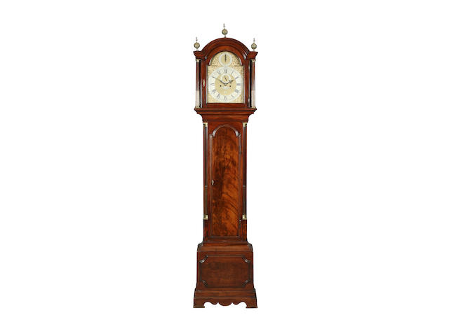 """A mahogany-cased 8-day long-case clock signed """"Michell Ball, London"""" sold with two weights, pendulum and winder, plus separate trunk and hood door keys"""