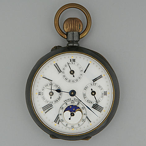An early 20th Century Swiss gun metal multi-dial keyless wound open-face pocket watch