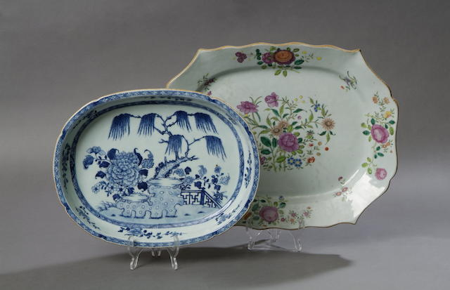 A Qianlong famille rose floral decorated shaped octagonal platter 44cm wide.