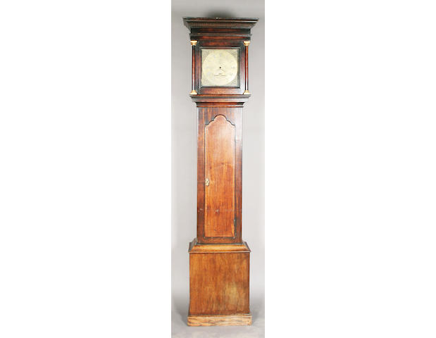 A mid/late 18th century and later oak longcase clock