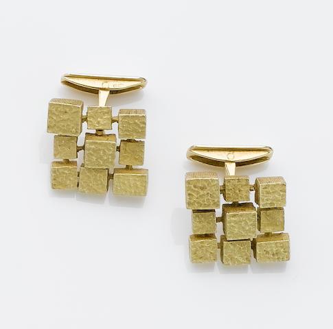 """A pair of 18 carat gold """"carré"""" cufflinks,"""
