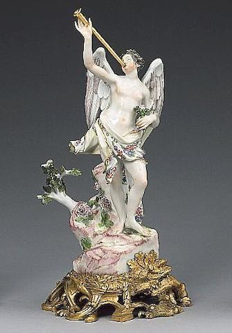 A Meissen ormolu-mounted figure of Fame mid 18th century