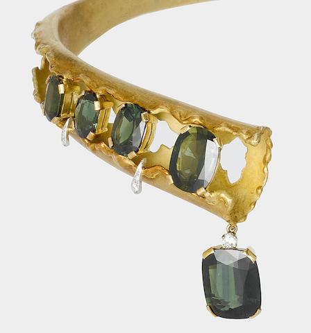 A fine green sapphire and diamond choker,