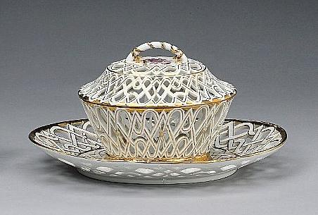 A Meissen chestnut basket and cover on a fixed stand circa 1760-70
