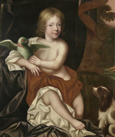 English School (circa 1680) A portrait of an infant boy wearing classical dress,