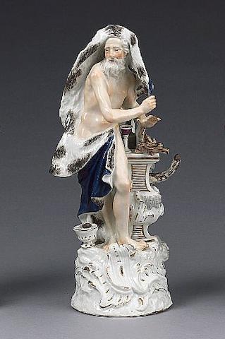 A Meissen allegorical figure of 'Winter' circa 1750