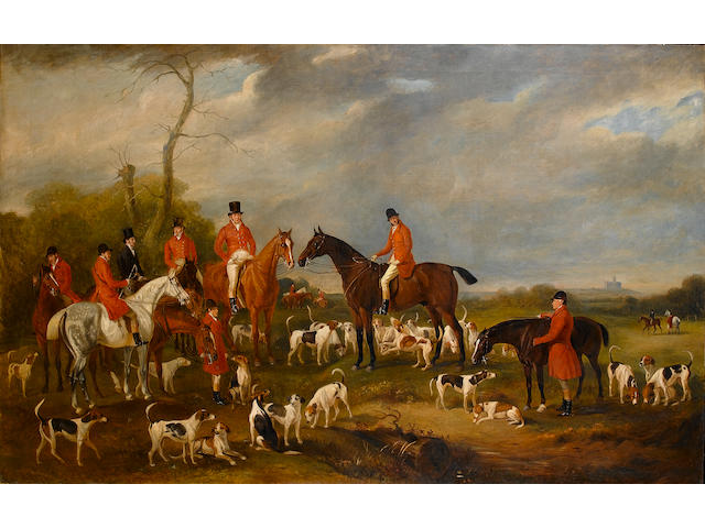 John Ferneley, Snr. (British 1782-1860) The Burton Hunt with Sir Richard Sutton, mounted gentlemen,