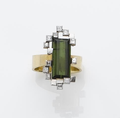 A tourmaline and diamond ring,