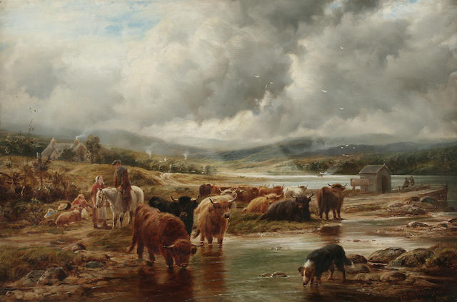 Robert Watson (fl. 1877-1920) Highland cattle and drover waiting for the ferry,