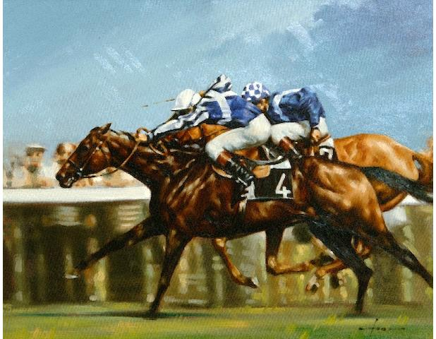Graham Isom (Contemporary) Two jockeys, neck and neck