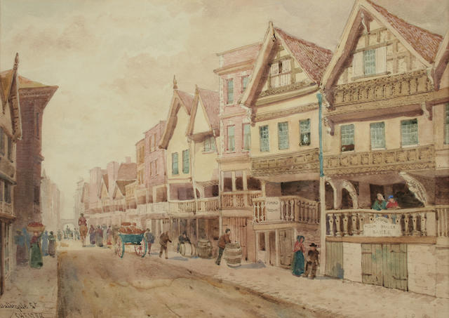 """Ernest Parkman (1856-1921) """"Watergate Street, Chester""""; together with another, """"Bridge Street, Chester in 1821"""", a pair,"""