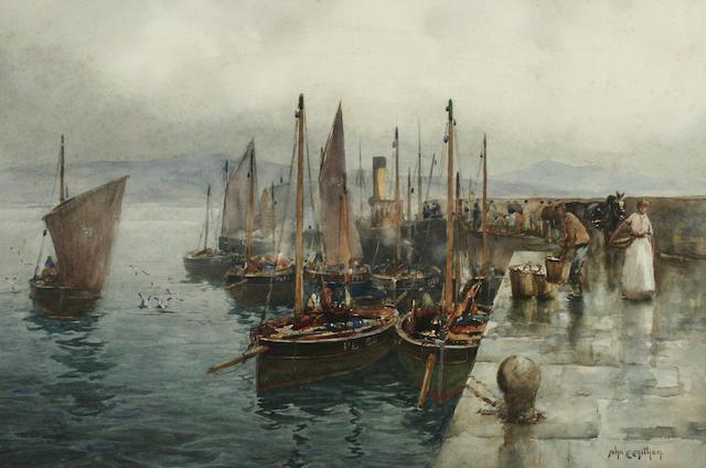 """John Ernest Aitken (1881-1957) """"The Fishing Fleet, Port St. Mary"""","""