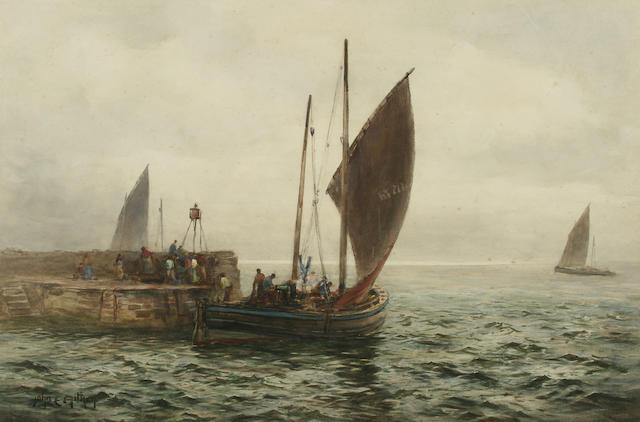 """John Ernest Aitken (1881-1957) """"The Sailing of the Herring Boats, St. Monance, Fife"""","""