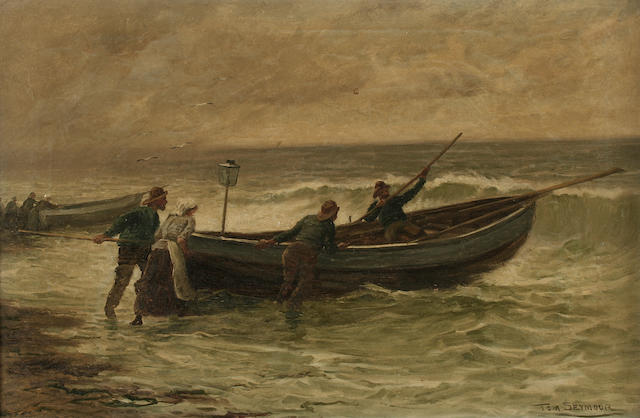 "Tom Seymour (19th Century) ""The Fisherman's Helpmate"", together another, ""Launching the Salmon Boat"", a pair,"