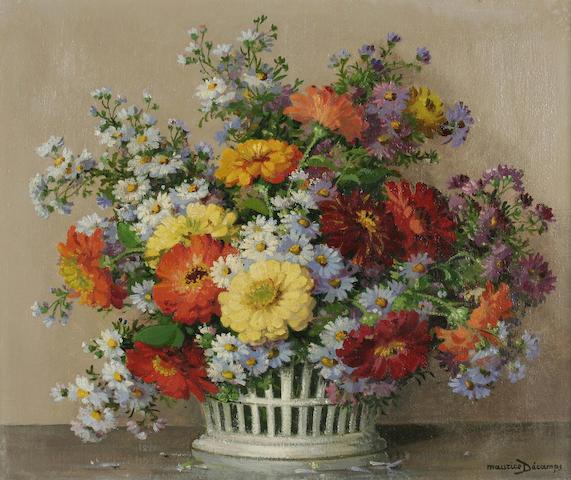 "Maurice Decamps (1892-1953) ""Zinnias et Asteres"", a flowerpiece,"