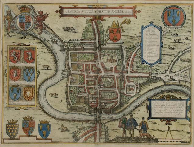 Braun (Georg) and Hogenburg (Frans) Cestria (vulgo) Chester. Anglia, a bird's eye view of Chester,