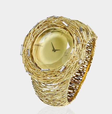 """A unique gold, diamond and citrine """"Cerini"""" bangle watch,"""