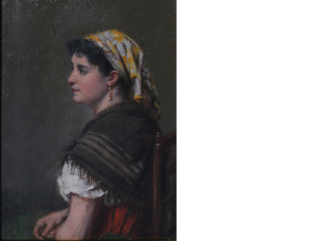 Haynes King, RBA (1831-1904) British Portrait of a gypsy lady,
