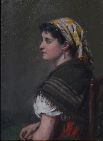 Haynes King, RBA (1831-1904) British Portrait of a gypsy lady,