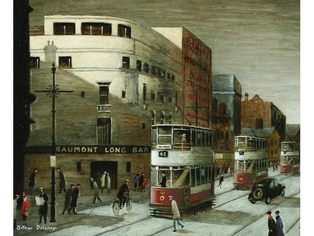 Arthur Delaney (1927-1987) Street scene with figures and trams,