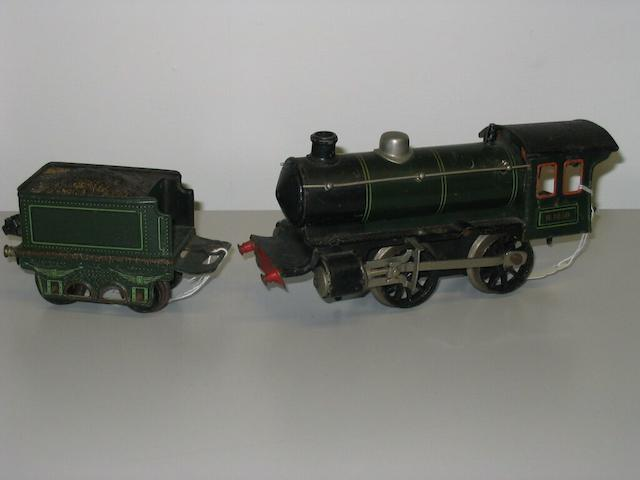 An 'O' gauge tinplate locomotive and tender,