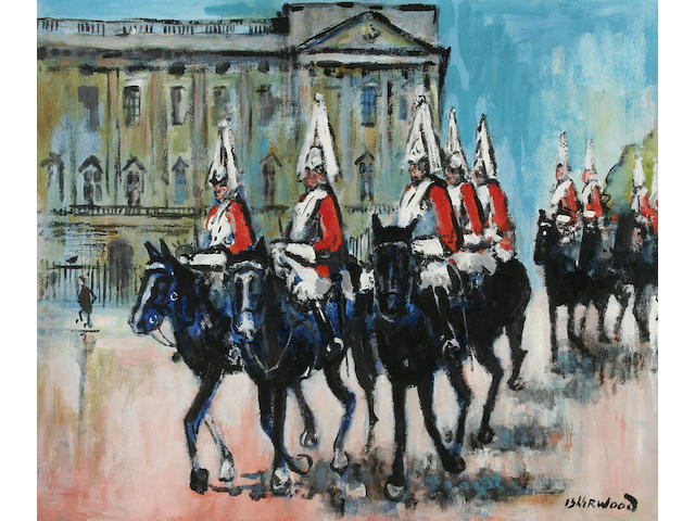 "James Lawrence Isherwood (1917-1989) ""Buckingham Palace, The Mall, Guards Band"", together with another, ""Horse Guards, Buckingham Palace"", a pair,"