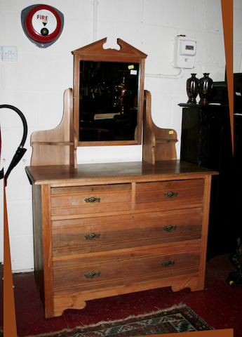A late Victorian satin walnut dressing table