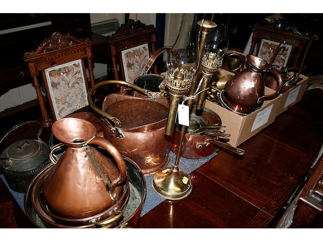 An assortment of copper and brassware