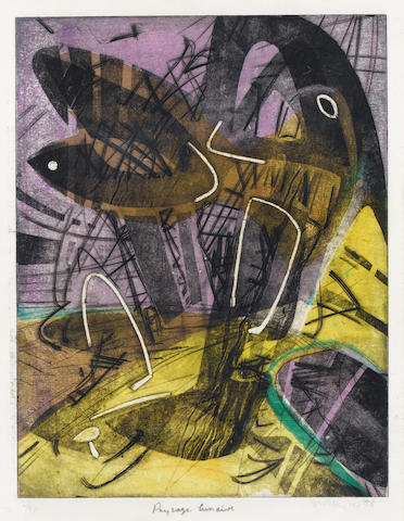 Stanley William Hayter Paysage Lunaire Etching, 1955, printed in colours, on BFK Rives and Lauriat ,