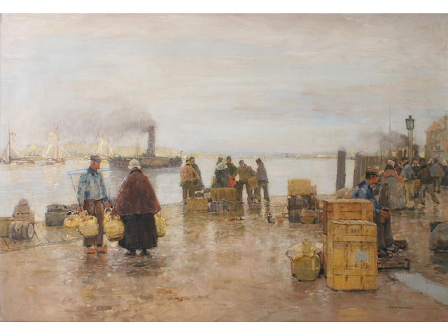 Hans Herrmann (1858-1942) German A Dutch dockside scene with figures,