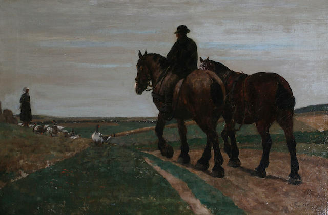 W** Brounder(?) (19/20th Century) European A field with figures, carthorses and geese,