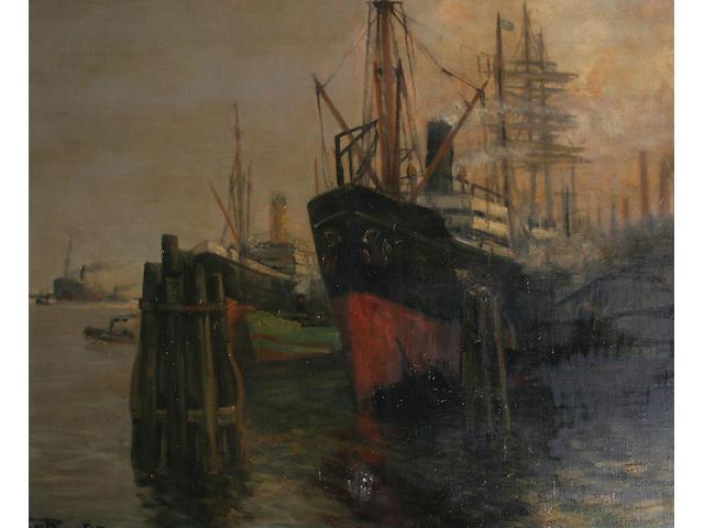 """Victor de Ruyter (b. 1870) German """"Alturraer-Hofen"""" - a steamship in harbour ,"""
